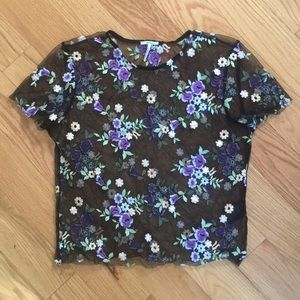 UO/Kimchi Blue Sheer Embroidered Top